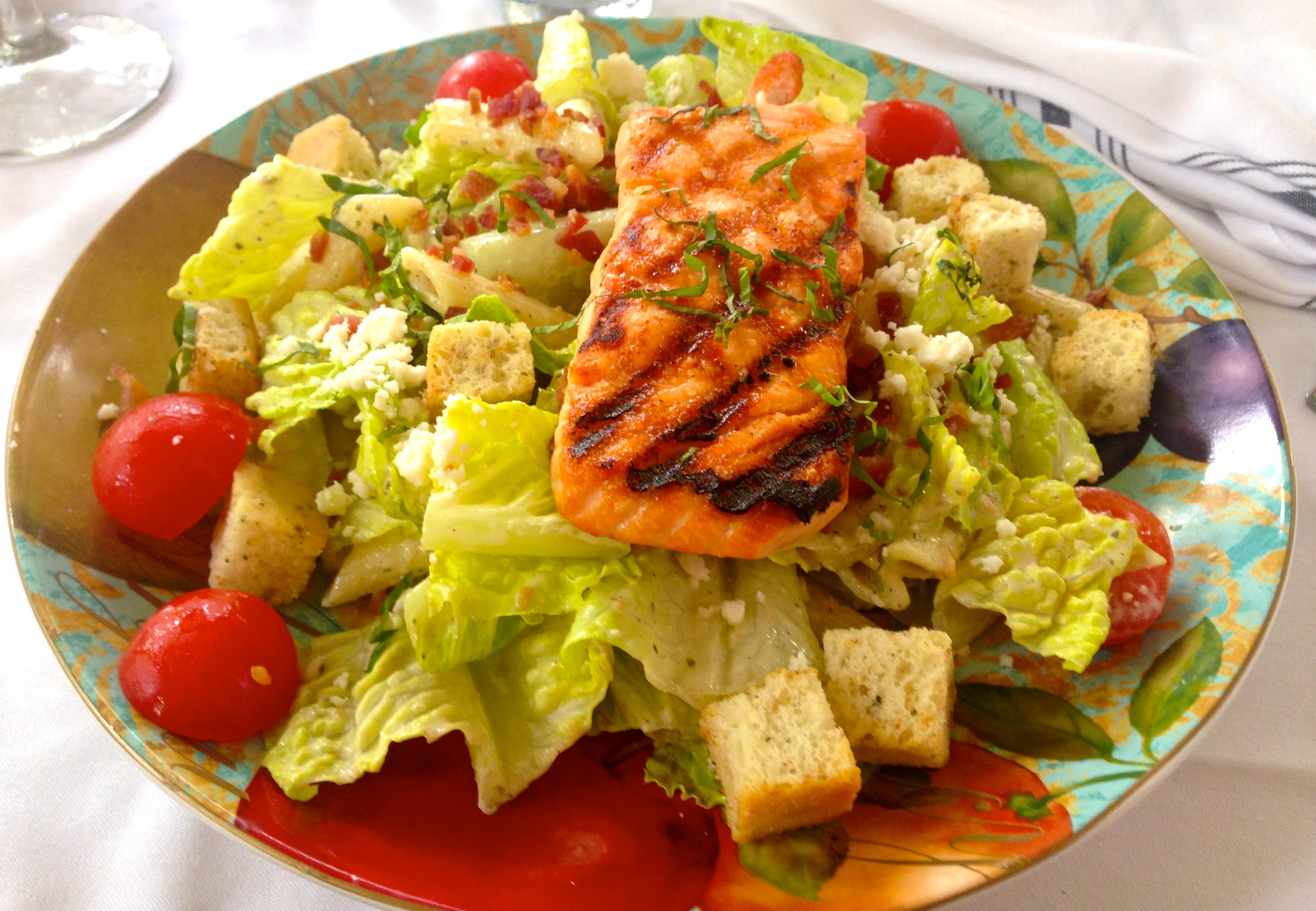 Skinny Caesar Salad with Blackened Salmon and Light Caesar ...